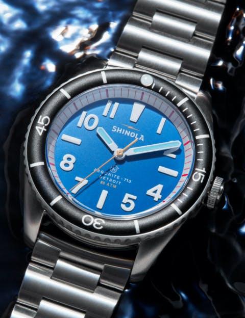 Close-up of the Shinola Duck watch
