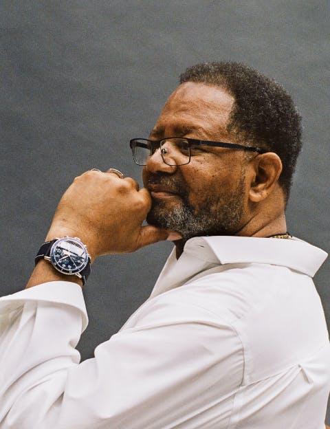 Man wearing a Shinola watch