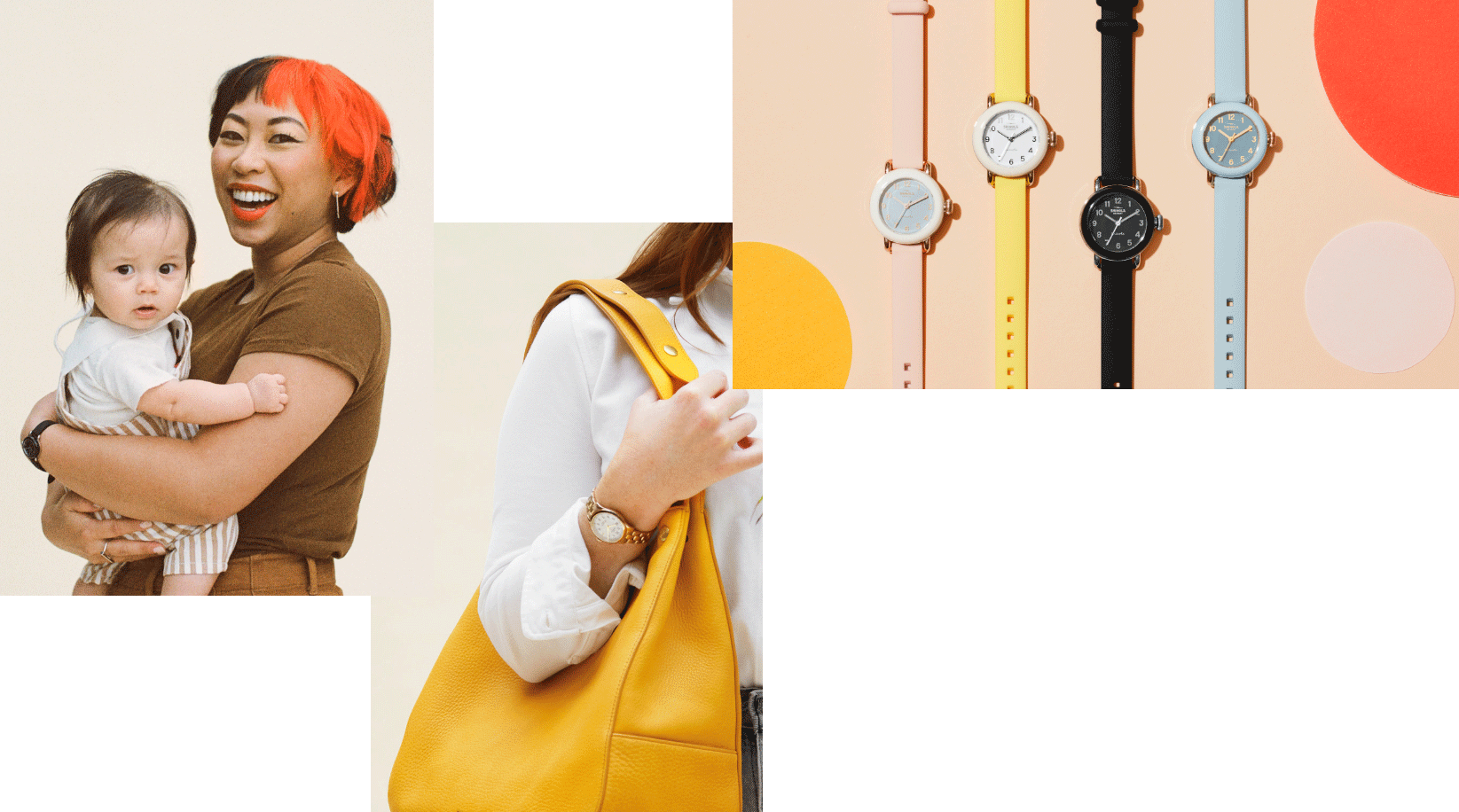 Collage: mother with daughter, Shinola leather bags and Pee-Wee Detrola 25mm