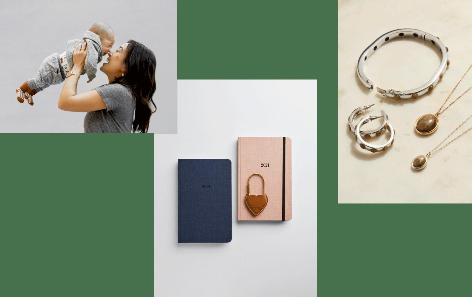 collage: mother and daughter, shinola supply, shinola petoskey gemstones collection