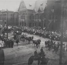 Detroit with horse-drawn carriages in the street