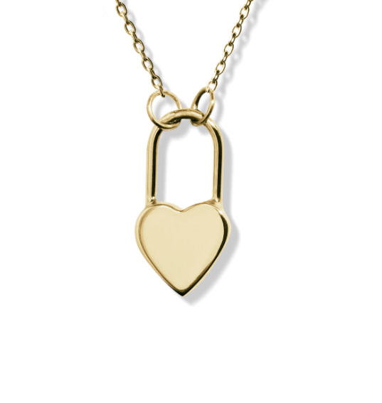 small gold heart lock charm necklace