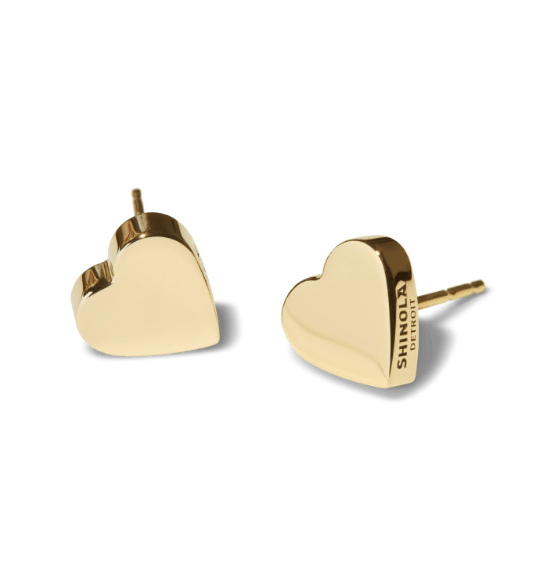 gold heart-stud earrings