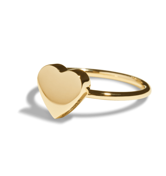 gold heart signet ring