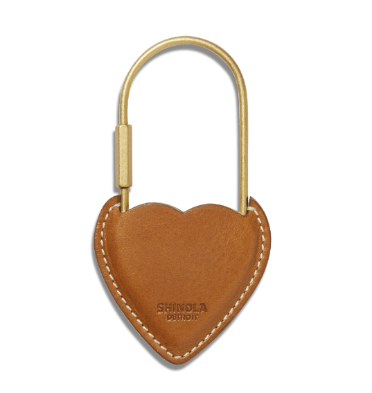 heart-lock leather-covered keychain