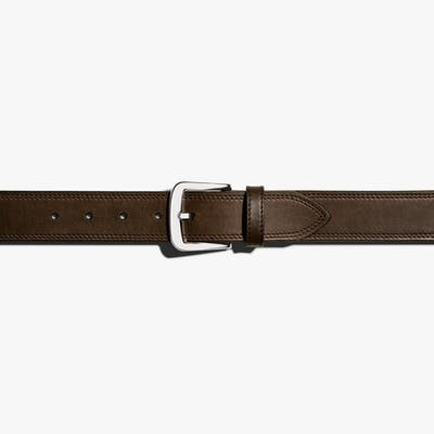 Double Stitch Belt - Deep Brown - Size 32