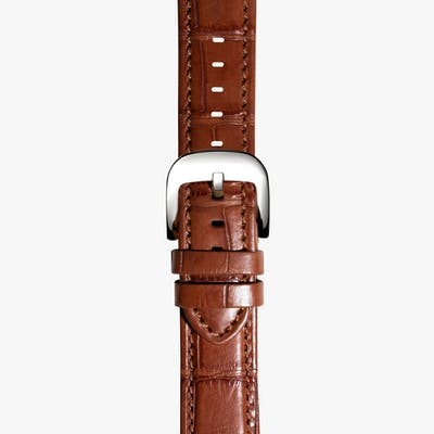 24mm Cognac Genuine Alligator Strap