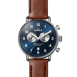 Canfield Chrono 43mm|Blue Dial|Brown Leather Strap | Shinola® Detroit