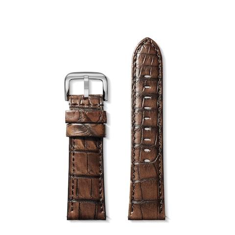 24mm Brown Genuine Alligator Strap