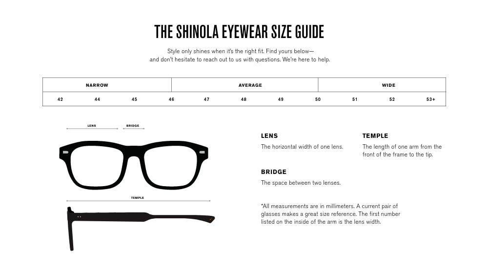 Eyewear Size Guide