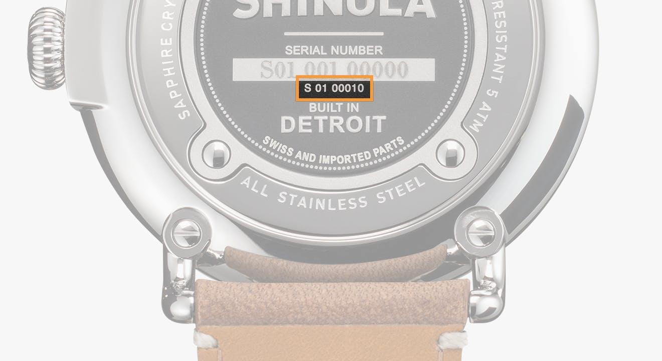 Shinola watch style number location