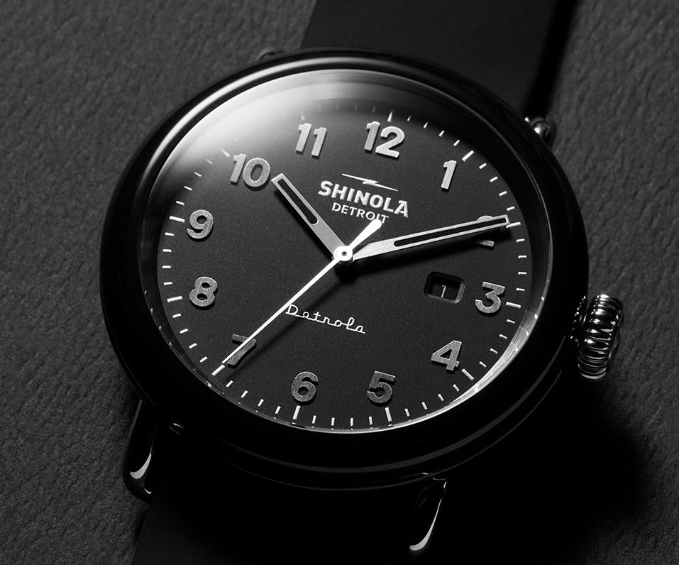 Black-and-white close-up of the Model D Detrola watch