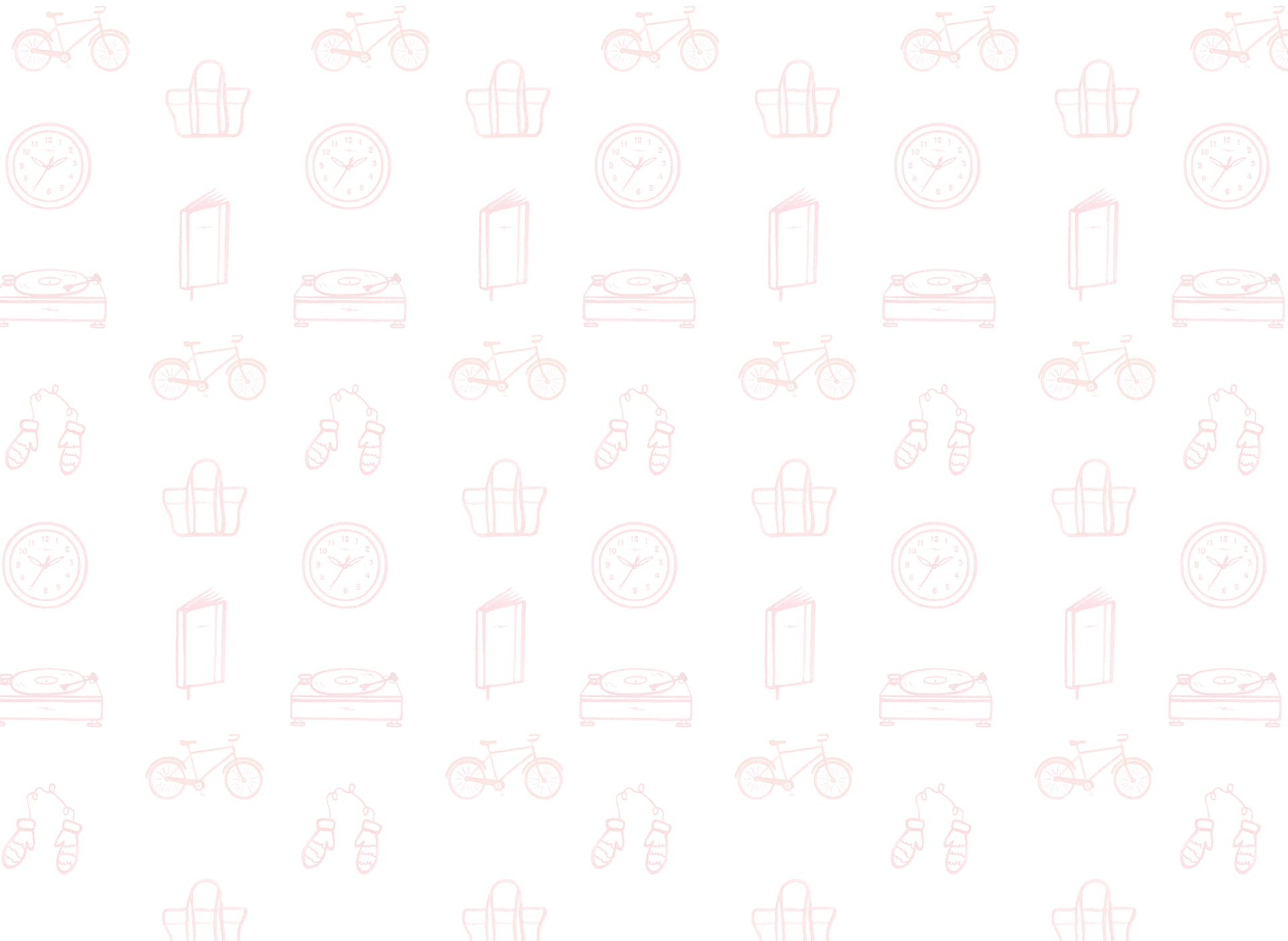 Wallpaper design with bikes, clocks, journals, turnatables and more