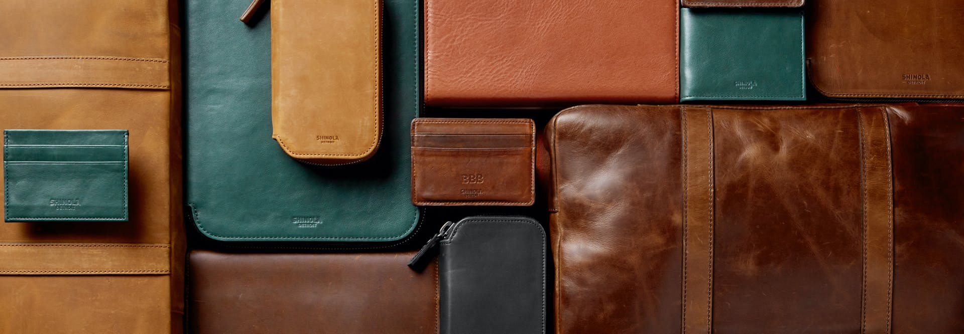 Collection of Shinola leather goods