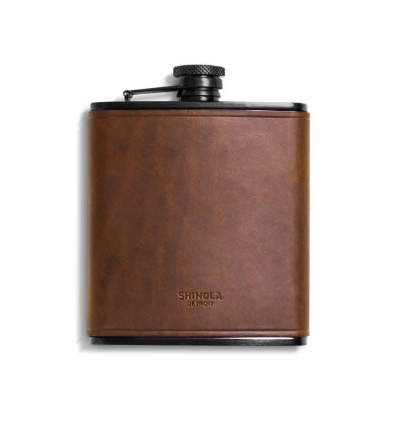 brown leather shinola flask