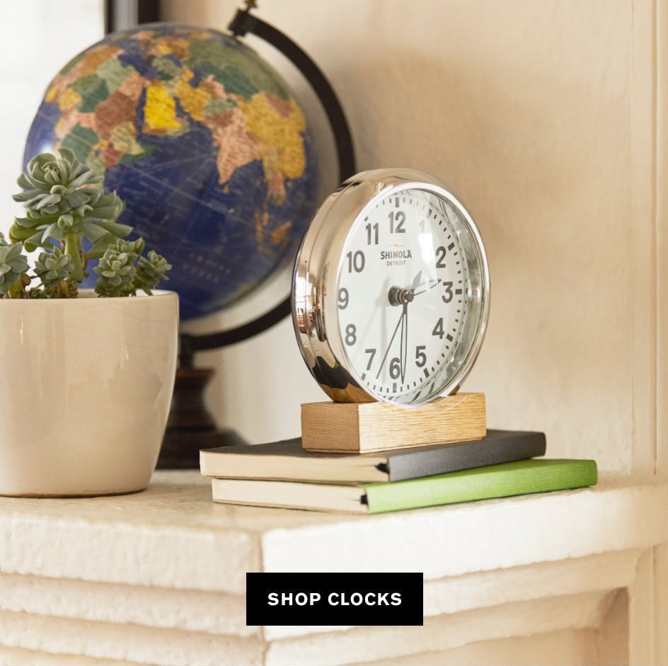 Picture of Shinola Clock sitting atop a stack of journals