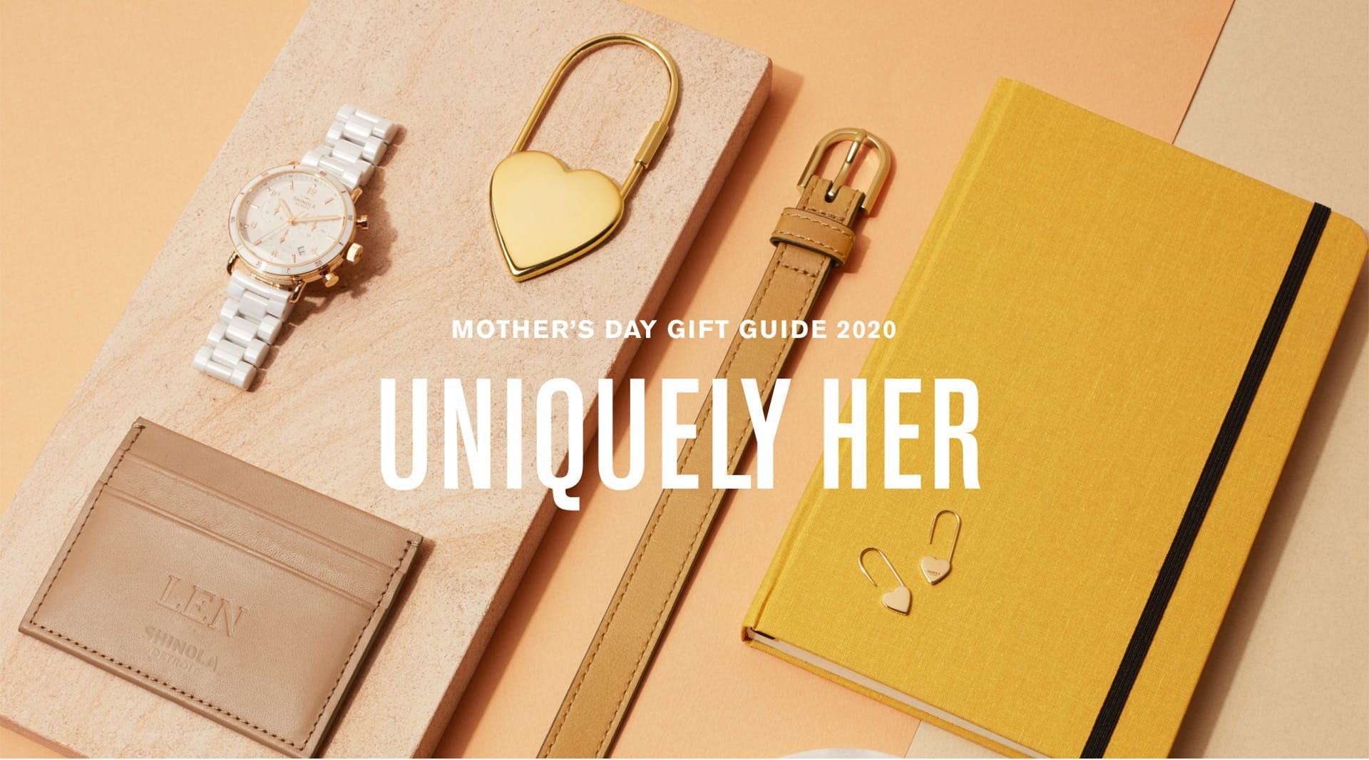 Collage of Shinola women's products: watch, heart charm, belt, journal, cardcase and more