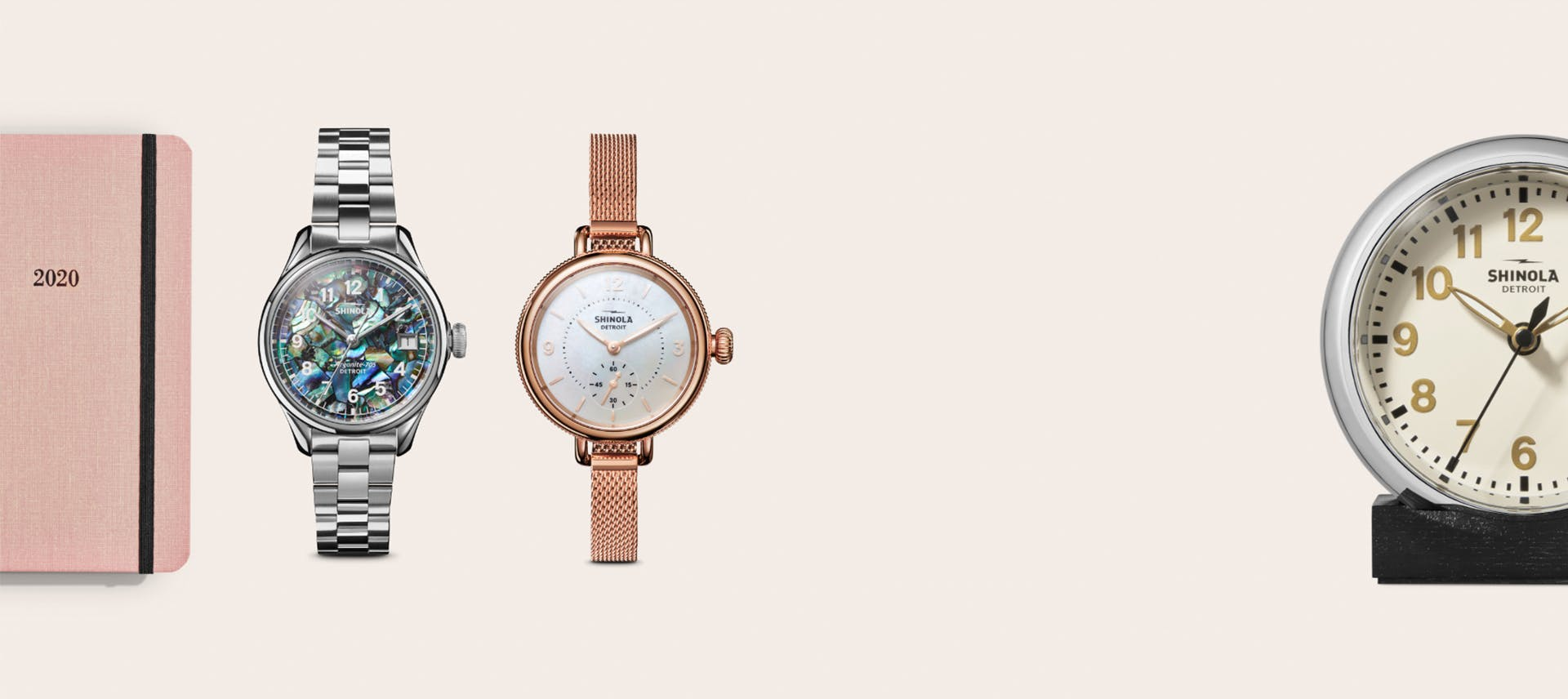 Collage of Shinola women's products: Abalone and Birdy watches, 2020 Planner and Desk-Clock