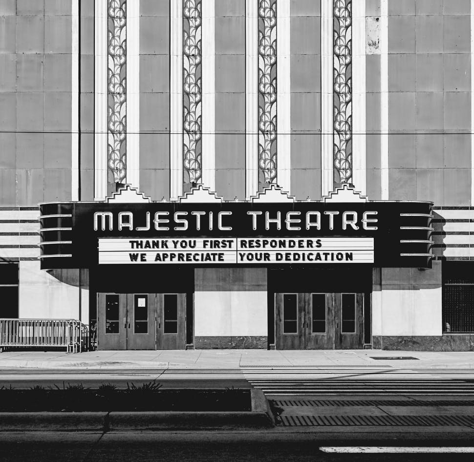 A picture, from the outside, in front of The Majestic Theatre in Downtown Detroit