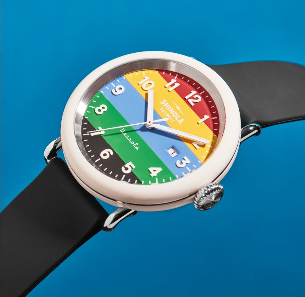 Close-up picture of the Shinola Champ watch-face and dial