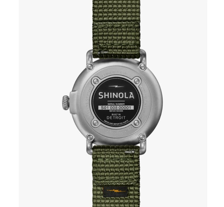 Close-up picture of the Runwell Field Watch Nylon Strap