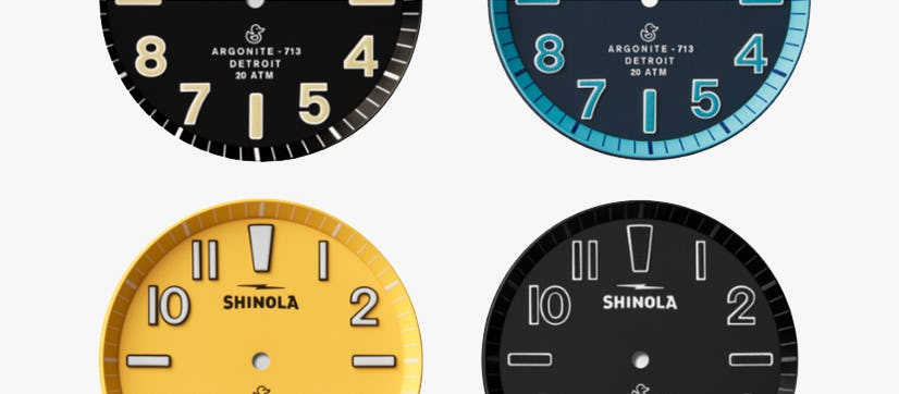 Display of the different matte dials available for the Duck watch series (Midnight Blue, Canary Yellow and Black
