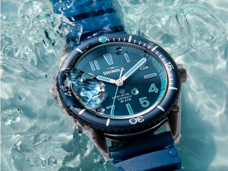 Close-up of the The Duck Blue Bay watch