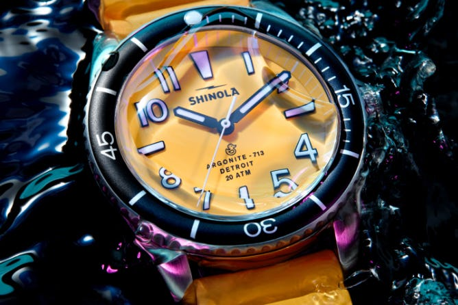 Shinola Yellow Duck watch under water