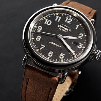 The Runwell Automatic With Black Dial and Brown Leather Strap